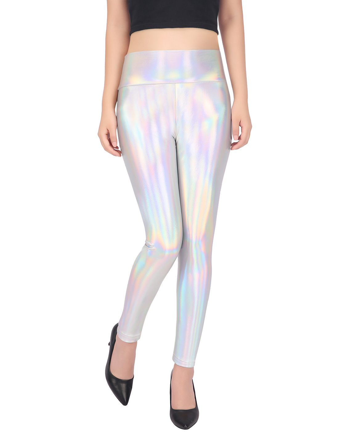c3ab17ce46 Details about Womens Shiny Holographic Leggings Sexy Iridescent Metallic  Clubwear